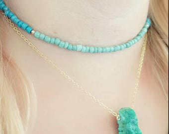 Mint Green Teal Blue Ombre Gold Beaded Choker Necklace Jewelry