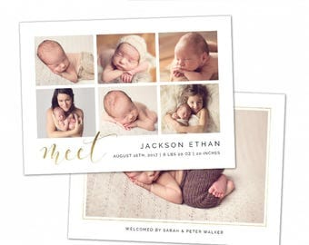 Birth Announcement Template - Baby Announcement Template for Photographers - Newborn 5x7 card - CB094  - INSTANT DOWNLOAD