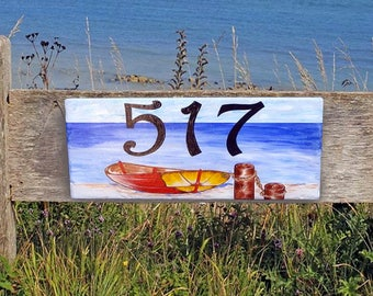 House number plaques, hand painted Italian house numbers, ceramic house numbers, house numbers, house sign, boat, nautical, ocean, dock,