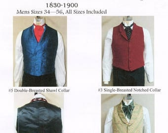 Men's Victorian Vests sizes 34-56 in 3 Styles - Single & Double Breasted - Laughing Moon Bijoux Sewing Patterns 3-4-5