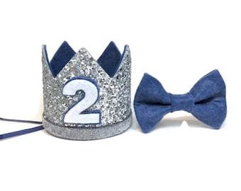 Boy Birthday Crown And Bow Tie Set ||  2nd Birthday Party Hat || Second Birthday Crown|| Boy Birthday Outfit || Silver + Denim