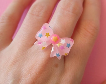 Fairy Kei Pink Bow Ring with Stars, kawaii rings, pastel goth, pink kawaii cute accessories, pink with stars, fairy kei aesthetic, tumblr