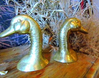 Vintage Brass Duck Head Bookends