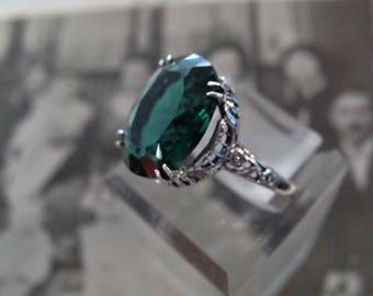Charming Sterling Filigree Emerald Ring Size 6.75 Antique design