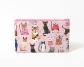 Cute Cats Pencil Case, Cat Zipper Pouch, Pink Make Up Bag, Mother's Day Gift, Back to School