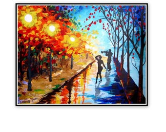 Original Acrylic Painting-Couple Walk In The Rain-Colorful Painting-Palette Knife-Rainy Landscape-Modern Wall Art-Jazz in the rainy night