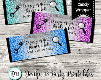 Escape Room Birthday Party Candy Bar Chocolate Bar Wrappers Favor Print Your Own 12 Color Choices