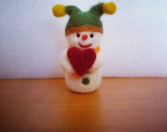 Mini handmade snowman, felted ornament, felted snowman for Christmas, Valentine's Day gift, handmade present baby, baby shower decor, felt
