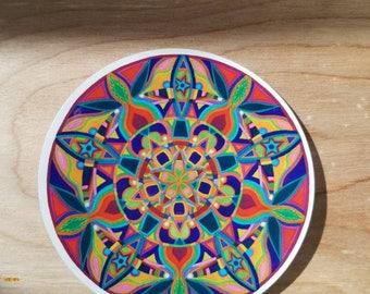 Kaleidoscope Starburst Mandala Sticker