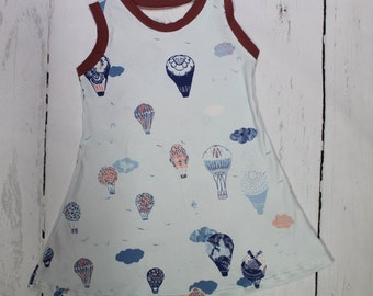 Up Up and Away Summer Tank Dress, Girls Knit Dress, Fly Away, Hot Air Balloons, Up in the Air