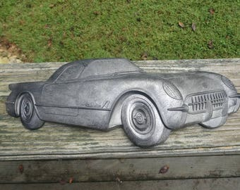 Vintage 1974 Plaque Featuring 1953 Corvette, American Molded Products, Gray Plastic, 3-D, Chevrolet Vintage Home Decorating, 1974 Home Decor