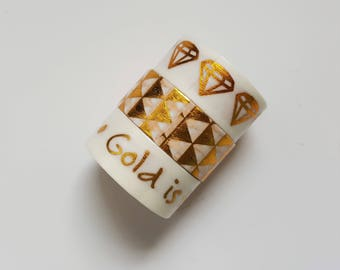 Set of 3 Washi Tapes - Metallic Washi Tapes - Gold Foil - Foiled Tape - Gold White - Quote Gold is the New Black - Triangles - Diamonds
