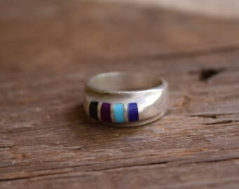 Vintage Inlay Ring - Blue purple black,  Mexico Silver Ring, Size 9 Silver Ring