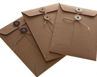 Rustic Envelope Kraft Envelope, DIY Kraft Envelope, String Tie Envelopes Button Tie Closure, Junk Journal DIY Envelopes, Kraft Wedding,