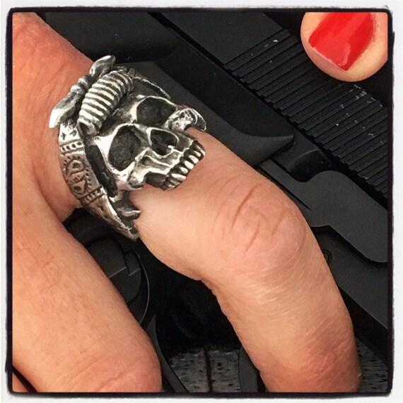 Etherial Jewelry Rock Chic Talisman Luxury Biker Custom Handmade Artisan Pure Sterling Silver .925 Bespoke Jawless Female Skull Badass Ring