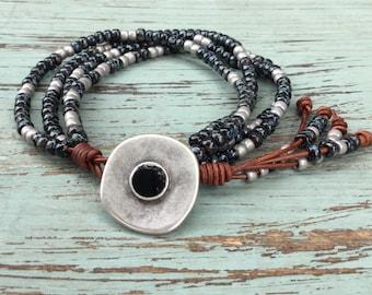 Grey & Black leather wrap bracelet/Southwestern Leather Wrap/Beaded Leather Wrap Bracelet/Multi Strand Jewelry/Southwestern Jewelry