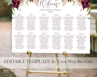Printable Marsala Wedding Seating Chart Template | Rustic Floral Seating Chart | Instant Download | Fall Wedding Seating | Burgundy | PDF