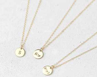 Gold Initial Necklace • Gold Letter Necklace • Personalised Disc Necklace • Gold Initial Pendant • Personalised Necklace • Initial Jewellery