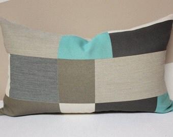 12x20 multicolor lumbar pillow cover, Maharam fabric pillow, gray lumbar pillow cover, beige gray pillow cover, teal pillow, maharam pillow