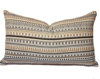 Ethnic pattern pillow cover, beige gray and black lumbar Pillow, modern pillow , brown pillow cover, beige pillow cover