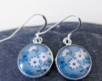 Grey Earrings, Daisy Earrings, Bridal Earrings, Art Earrings, Sterling Silver Earwires, Floral Earrings, Turquoise Butterfly, Dangle Earring