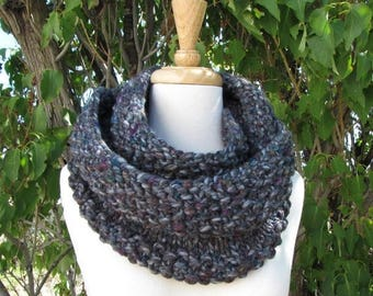 SALE 30% OFF Tweedy Gray Infinity Scarf - Abalone Gray Purple Teal Wool Cowl - Soft Trendy Knit Scarf - Gorgeous Gray Infinity Scarf - Gift