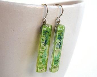 Long green earrings, Lightweight dangle earring, Unique artisan fused glass jewelry, Sterling silver, Eco friendly jewelry