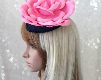 Kentucky Derby Fascinator, Hot Pink Flower Fascinator, PInk and Navy Blue Flower hat, Royal AScot, Fancy Hat, Horse Racing hat