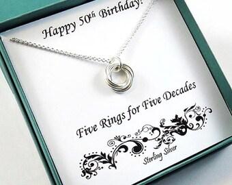 50th Birthday Gift for Women, Sterling Silver Necklace, 50th Birthday,  Love Knot Necklace, Birthday Jewelry, 50th Birthday Gift, MHD