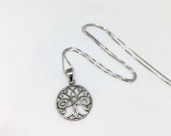 Celtic Tree of Life Necklace Sterling Silver Tree Pendant Celtic Triquetra Charm Tree Medallion Small Celtic Pendant Trinity Knot Jewelry