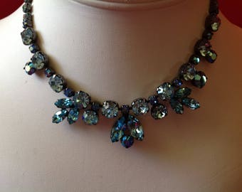 Vintage Signed Regency Necklace-Pastel Blue Rhinestones