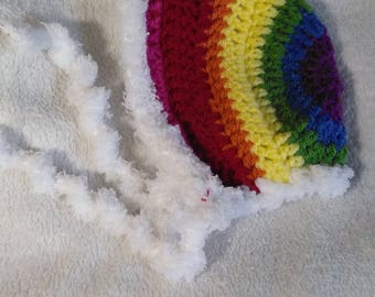 Crochet Rainbow Newborn Baby Bonnet, Rainbow Baby Photography Prop, Rainbow Bonnet