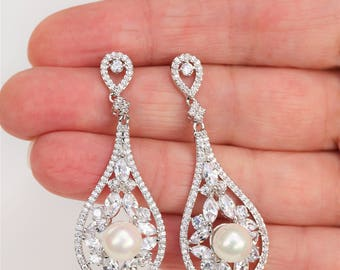 Art Deco Earrings, Bridal Earrings, Wedding Earrings, Bridal Jewelry , Pearl Earrings , Crystal Drop Wedding Jewelery, Bridesmaid gift, UK