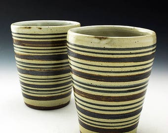 Stoneware Tumbler - 16oz- Horizontal Stripes