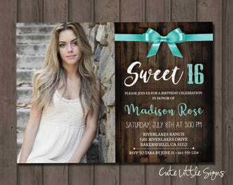 Sweet 16 Country Bow Photo Birthday Invitation Digital Download