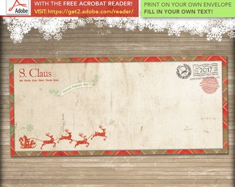 INSTANT DOWNLOAD ** #10 Santa Letter Envelope Template // Add Your Own Text //  Editable PDF // Print At Home