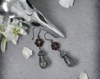 Crackling Cloud Grey and Crimson Earrings Smoky Grey OOAK Handmade Earrings with a Gothic Touch