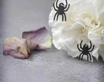 Itsy Bitsy Spider on a Thread Long Earrings, One of a Kind Handmade Silver and Faux Leather Gothic Halloween Jewelry
