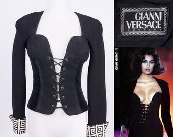 GIANNI VERSACE COUTURE F/W 1993 Black Bustier Jacket with Greek Key Cuffs & Velvet Panels