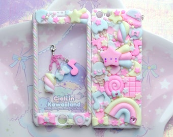 Kawaii Decoden Case - Sugary Sky case - Super cute kawaii full body front back case iphone 4/5/5s/6/6s/7/8 galaxy s3/s6/s7 Christmas Gift