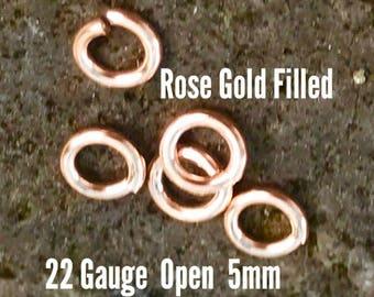 10 ea. 14k Rose Gold Filled 5mm Open Jump Rings 22g ga Gauge