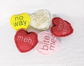 Anti-Valentine's Day Cat Toys, Pack of 5, Snarky, Catnip, Kittens, Kitties, Cat Nip, Embroidered Felt, Bright, Valentine's Day Cat Gifts