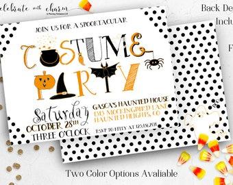 Polka Dot Halloween Costume Party Invitation, Kids Halloween Party, Halloween Birthday Party - Digital Invitation - Printable Invitation