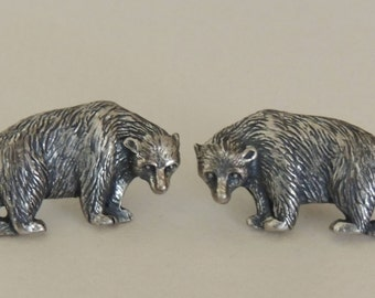 Sterling Silver BEAR Earrings Screw Back