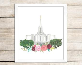 Jordan River, Utah LDS Temple Watercolor Print, LDS Artwork