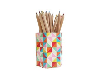 Geometric pens wooden  holder, colorful pencils holder , colorful brushes cup , desk organization , back to shchool ,  cubicle decor