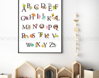 Alphabet Poster, Playroom Poster, Nursery Poster, Alphabet Nursery Art, Nursery Wall Art, Alphabet, Alphabet Wall Art, Poster Design 22-0036