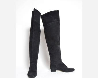 Vintage Tall Suede Black Leather Boots
