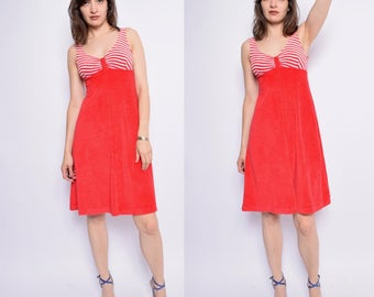 Vintage 80's Terry Cloth Red Dress / Midi Red Sundress - Size Small