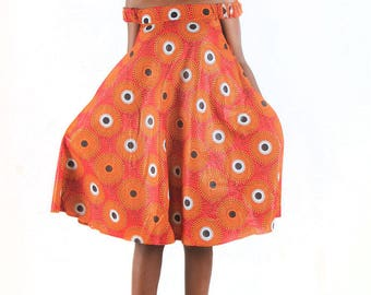 Wakati Dress _ African Prints Off Shoulder Dress _ Ankara Off Shoulder Dress